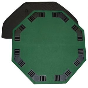 "48"" Green Octagon Folding Poker and Blackjack Table Top with Carrying Case by Brybelly"