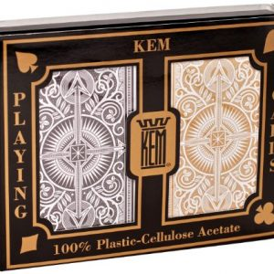 KEM Arrow Poker Size Playing Cards: 2 deck set Black and Gold, Wide Jumbo Index