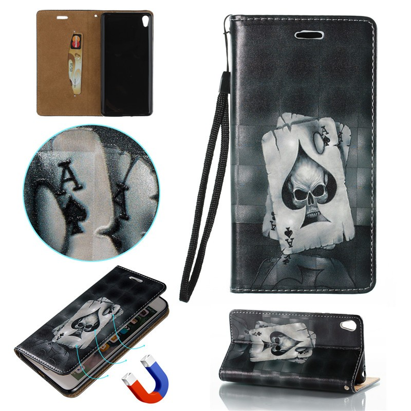 3d relief pu leather flip cover for sony xperia e5 case. Black Bedroom Furniture Sets. Home Design Ideas